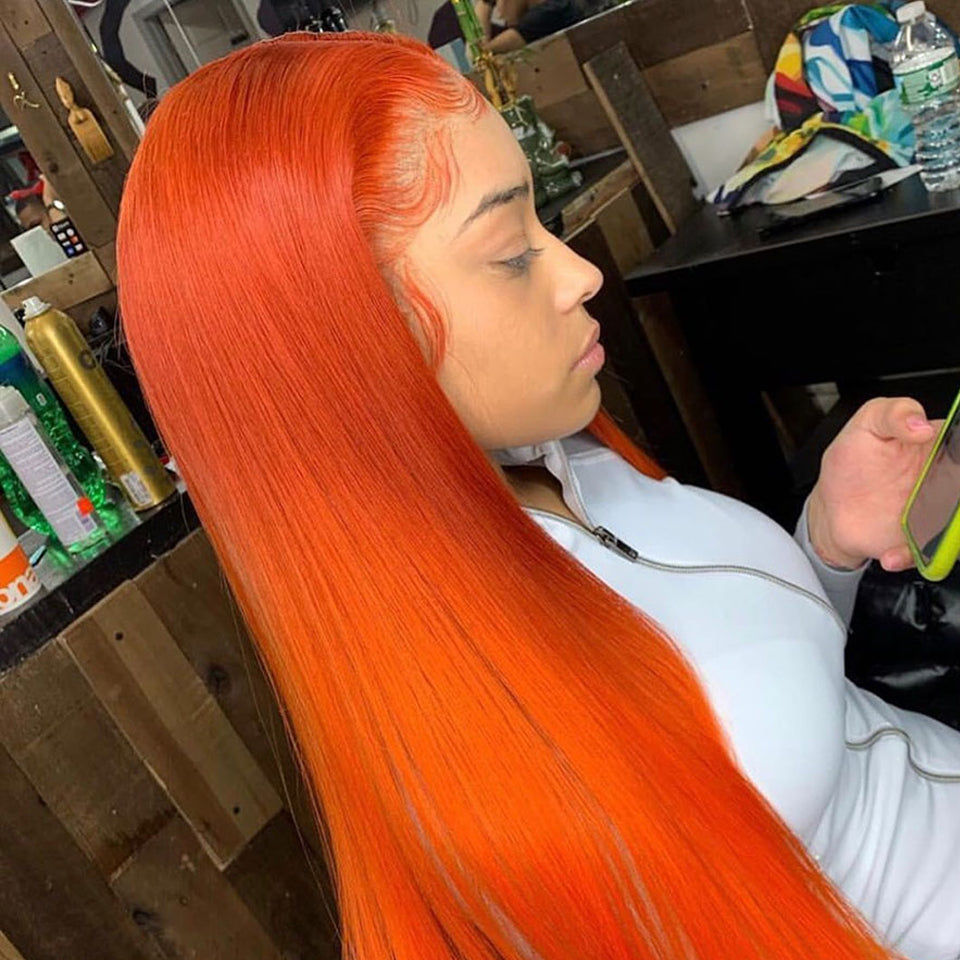 Beaufox Hair 350 Orange Straight Hair Lace Front Wig Virgin Human Hair 150% Density
