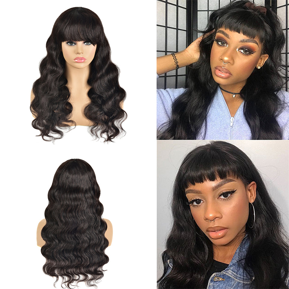 Beaufox Hair Real Virgin Human Hair Wig Body Wave Glueless Wig 150% Density Machine Wig Hair