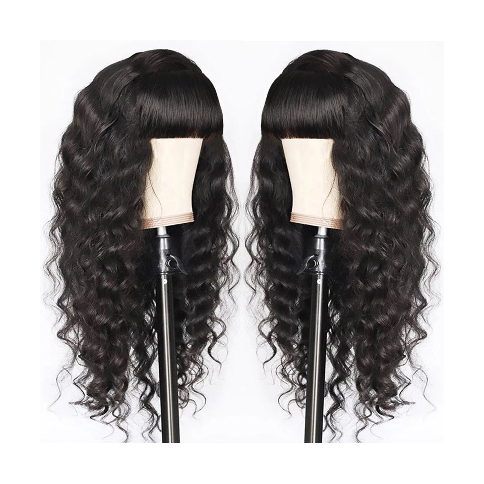 Beaufox Hair Glueless Wig Deep Wave Curly Wigs Baby Hair Human Hair 150% Density 12A Machine