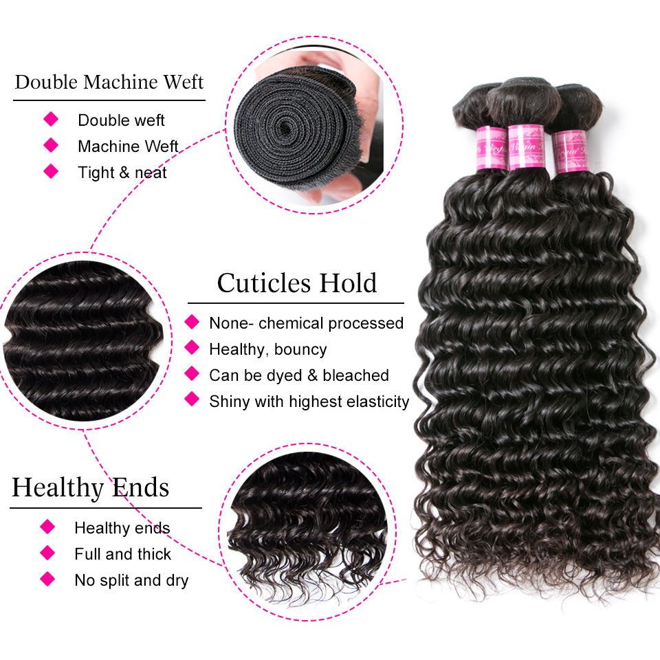 Beaufox Hair Deep Wave 3 Bundles Human Hair Natural Black