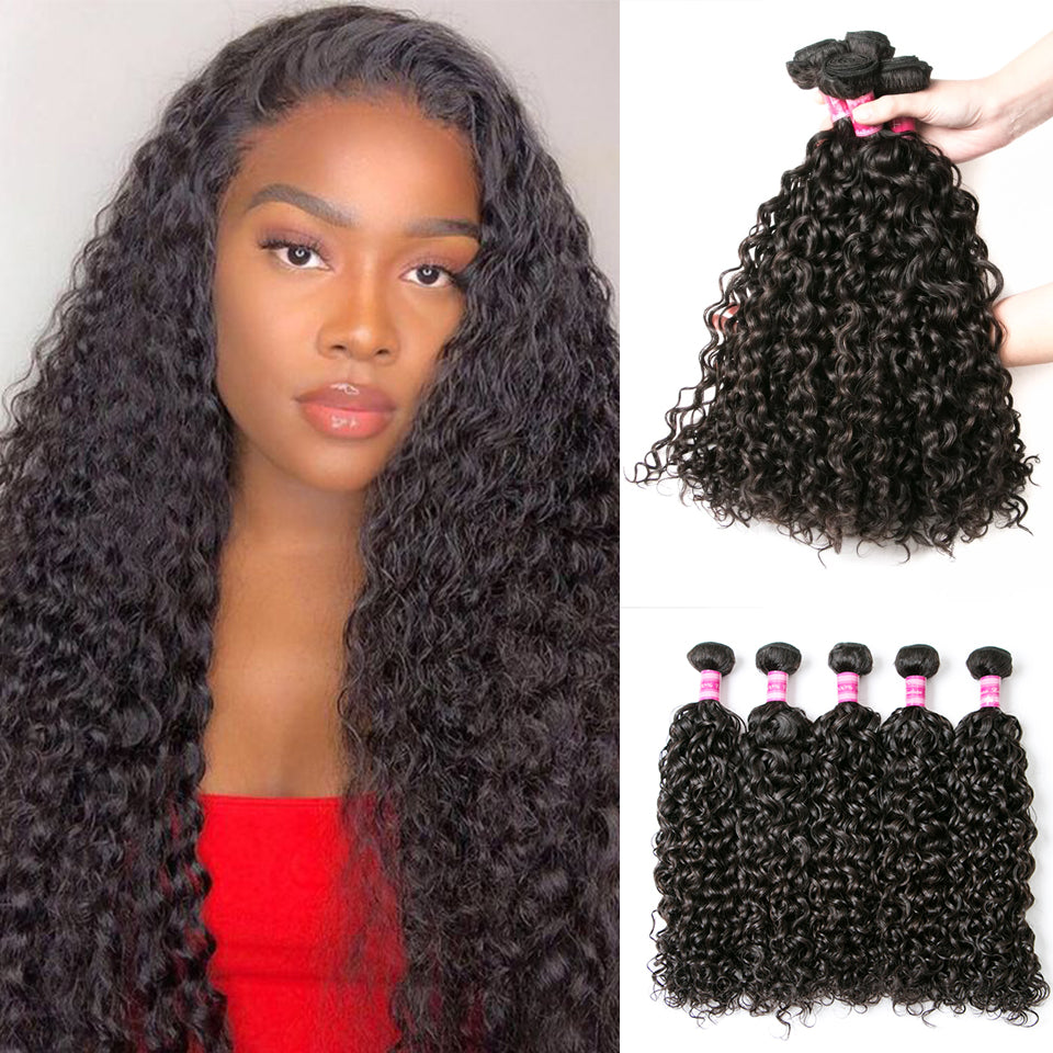Beaufox Hair Water Wave 5 Bundles 100% Virgin Human Hair Natural Color