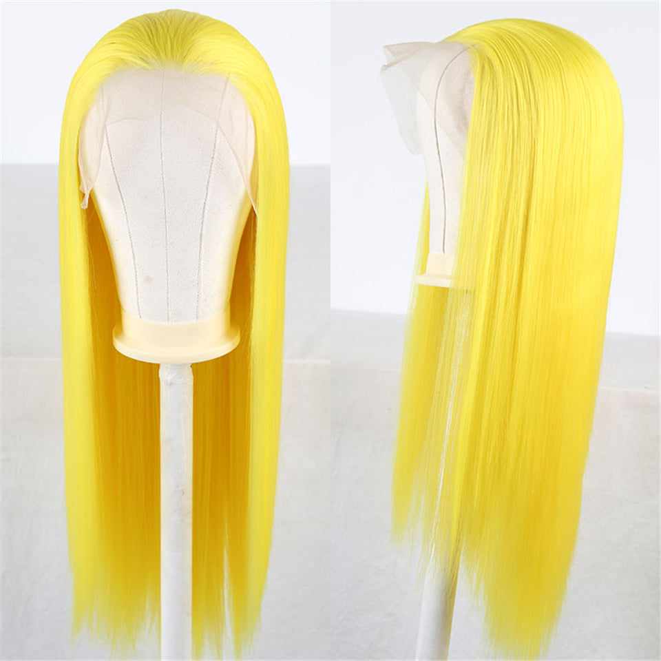 Beaufox Human Hair Straight Lace Front Wig 150% Density Yellow Color 13X4