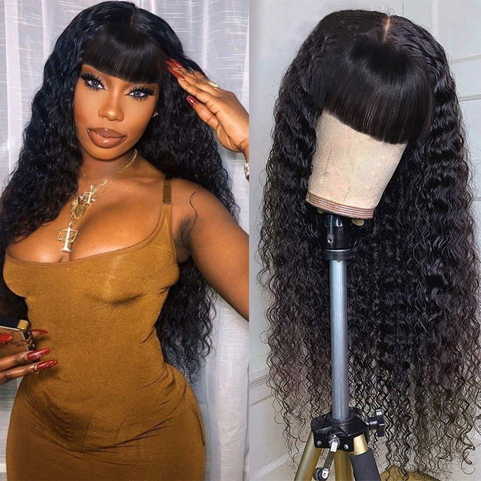 Beaufox Virgin Hair Human Hair Wig Glueless Baby Hair Water Wave Curly Wigs Machine Wig