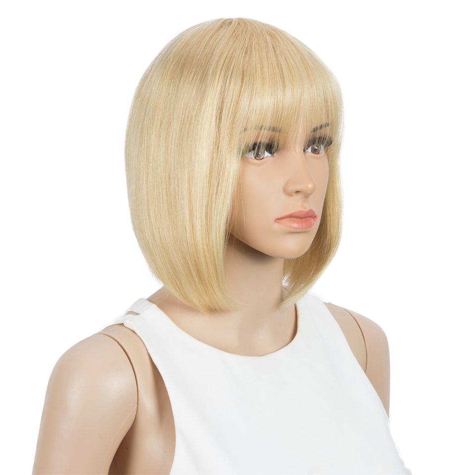 Beaufox Human Hair Straight Short Bob Wig With Bangs No Lace Glueless Wig 613 Blonde Bob Wig 8-16 Inch