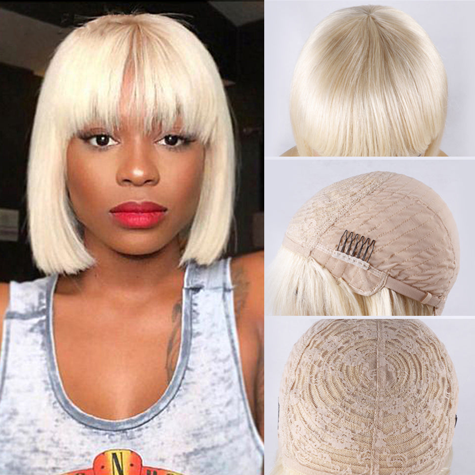 Beaufox Straight Short Human Hair Wigs With Bangs No Lace Front Wig 613 Blonde Bob Wig Human Hair