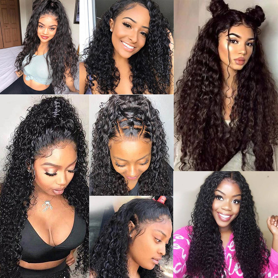 Beaufox Hair 100% Human Hair Water Wave 360 Lace Frontal Natural Black