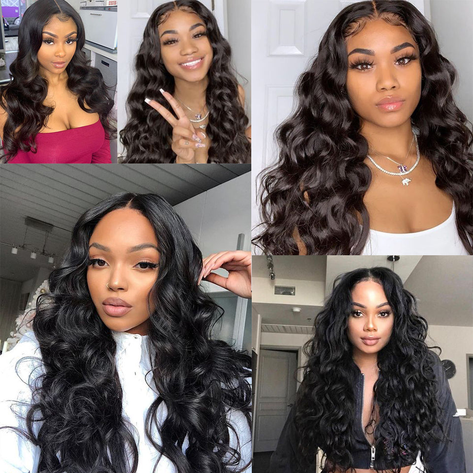 Beaufox Hair 13*4 Lace Front Wig Loose Wave Wig 180% Density Human Virgin Hair