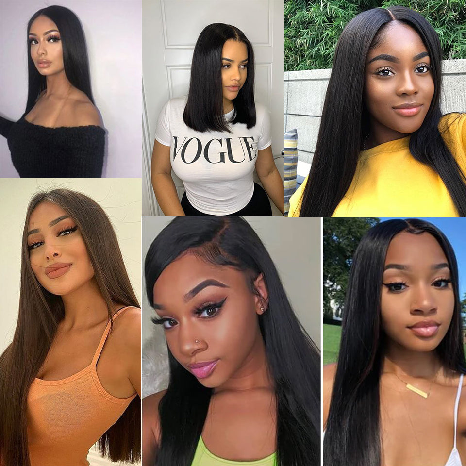 Beaufox 360 Frontal Lace Wig 150% Density Silky Straight 100% Virgin Human Hair