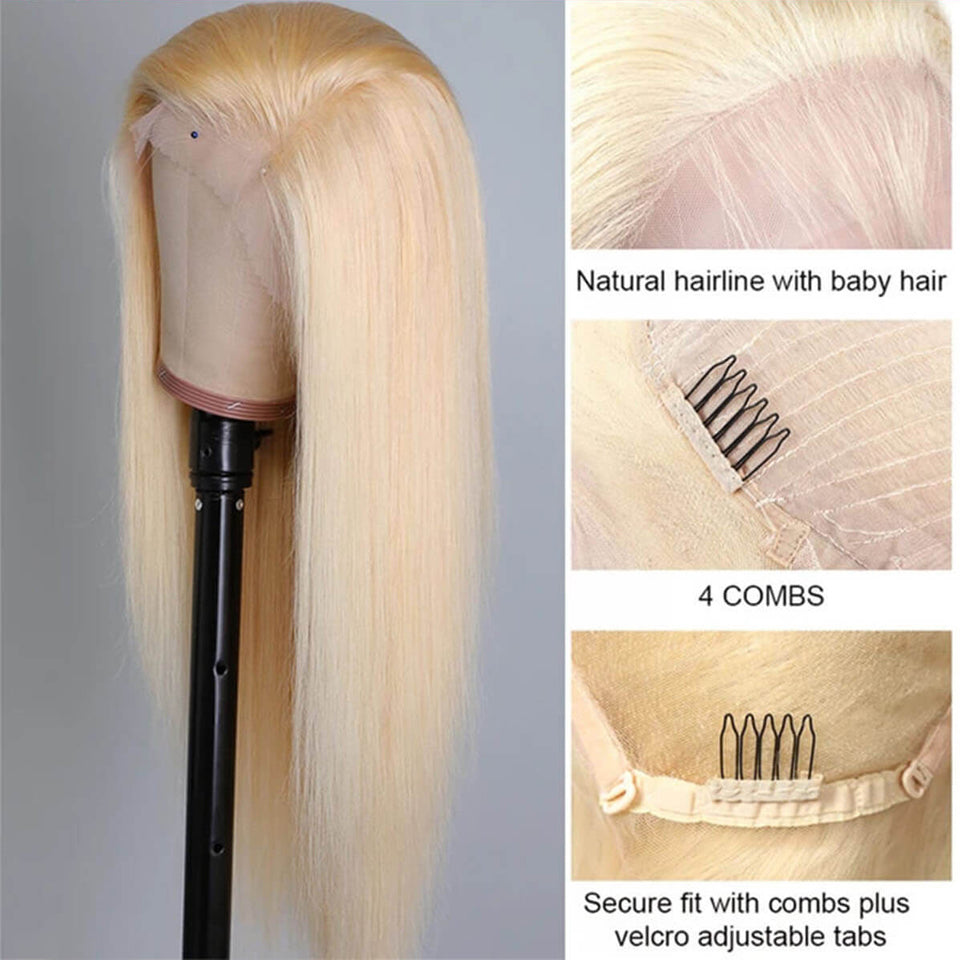 Beaufox 613 Blonde Straight Lace Front Wigs Human Hair 150% Density