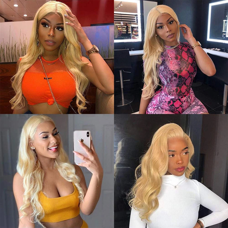 Beaufox Hair Virgin Human Hair Body Hair 613 Blonde 4 Bundles With 4*4 Lace Closure
