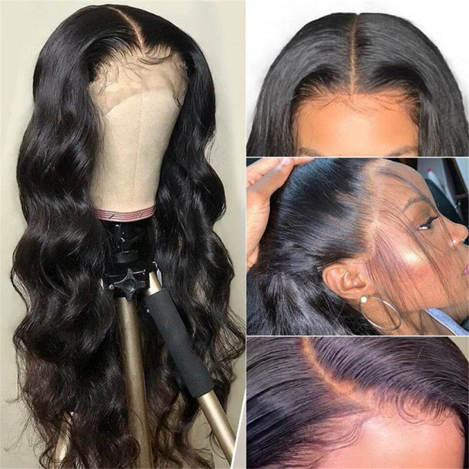 Beaufox Hair Body Wave 13*4 Lace Front Wig 180% Density Natural Black Brazilian Hair