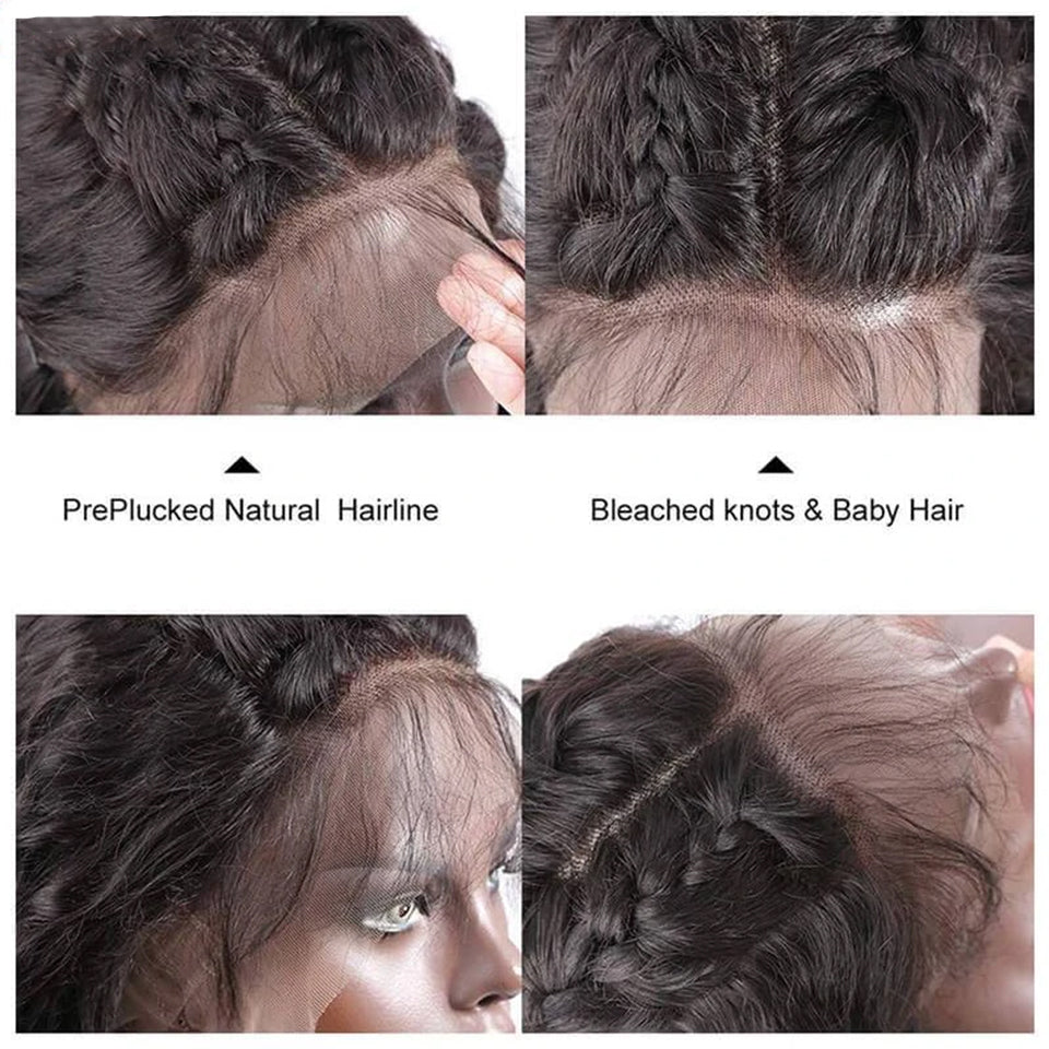 Beaufox Hair Loose Wave Hair 4 Bundles With 360 Lace Frontal Natural Color