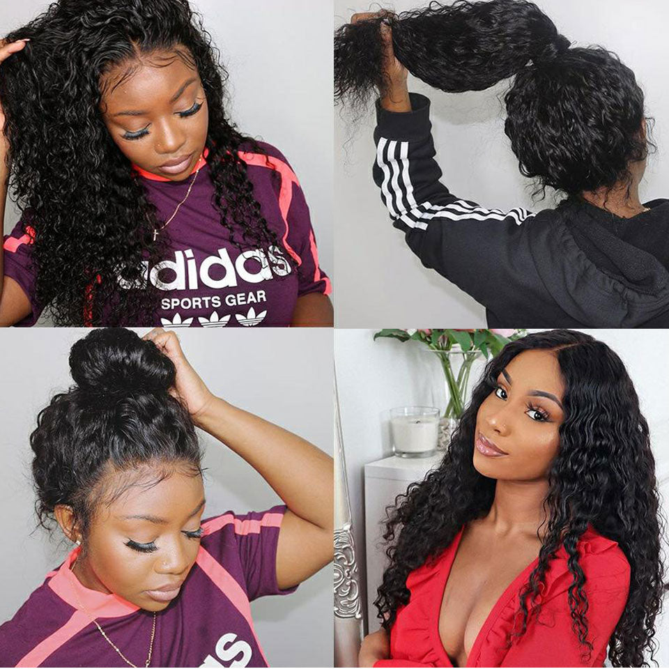 Beaufox Water Wave 360 Lace Frontal Human Hair Wig, 150% Density 100% Virgin Human Hair Free Shipping