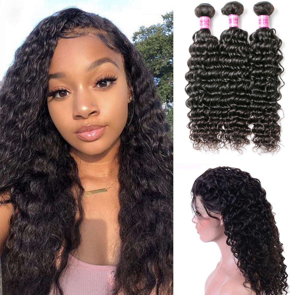 Beaufox Hair Deep Wave 3 Bundles With 360 Lace Frontal 100% Human Hair