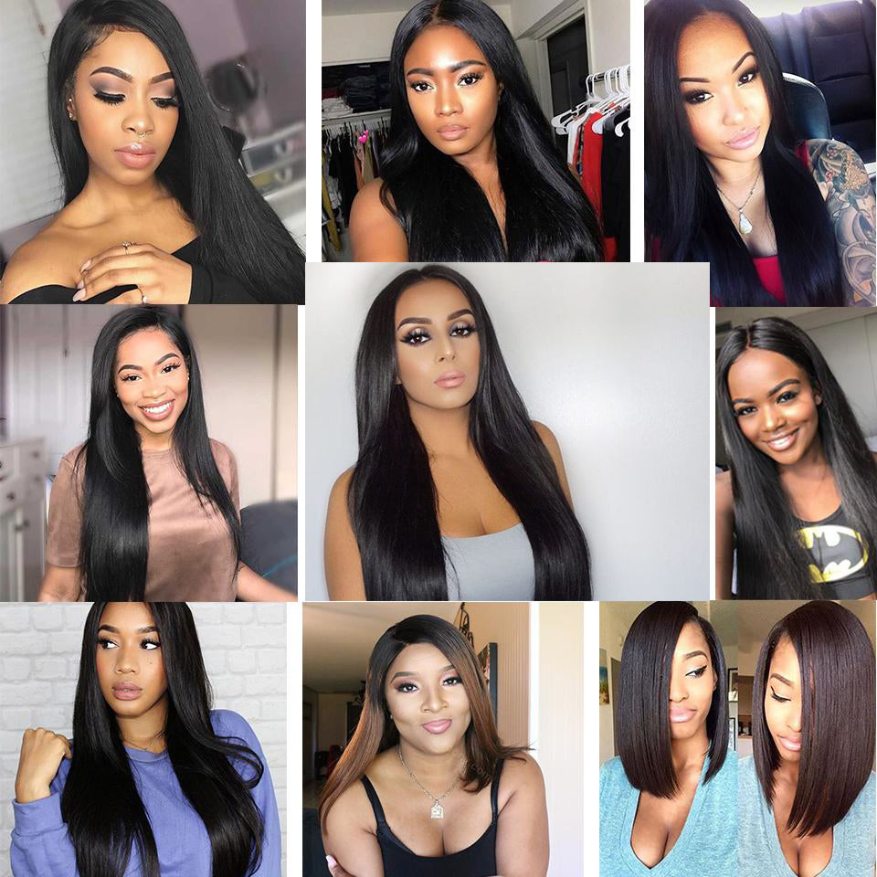 Beaufox Hair 100% Human Hair Straight 360 Lace Frontal Natural Black