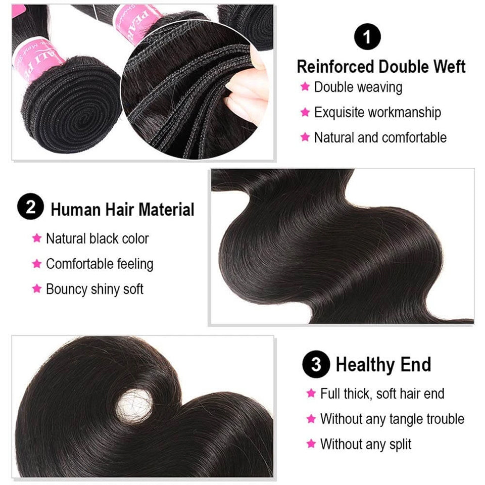 Beaufox Body Wave 4 Bundles With 4*4 Lace Closure Human Virgin Hair