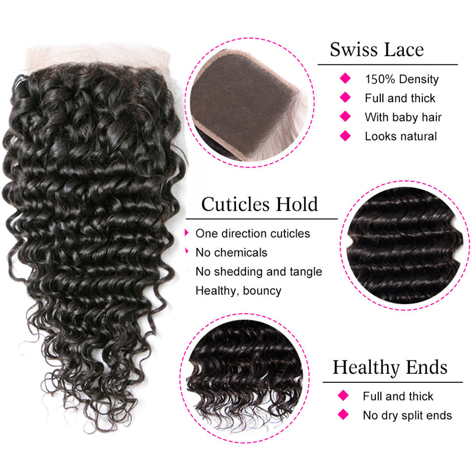 Beaufox Hair Deep Wave Human Hair 3 Bundles With 4*4 Closure