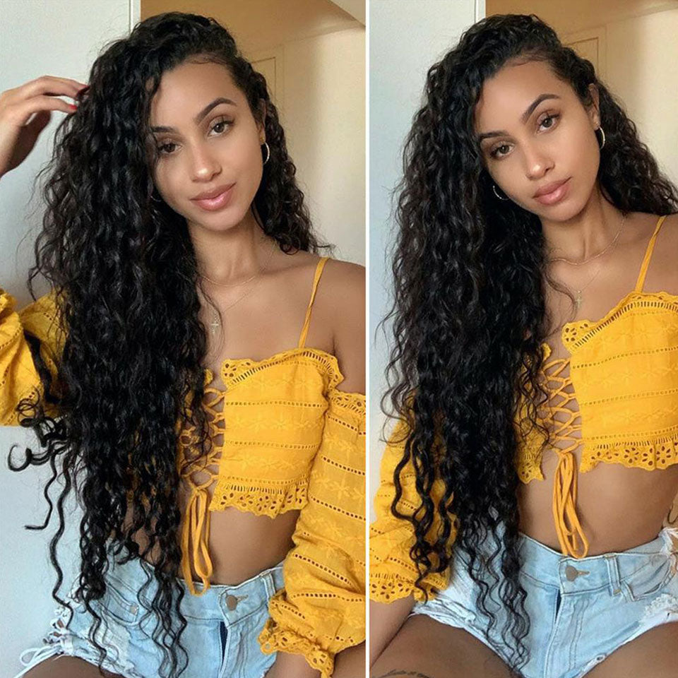 Beaufox 13*4 Lace Front Wig 150% Density Water Wave 100% Virgin Human Hair Short to Long