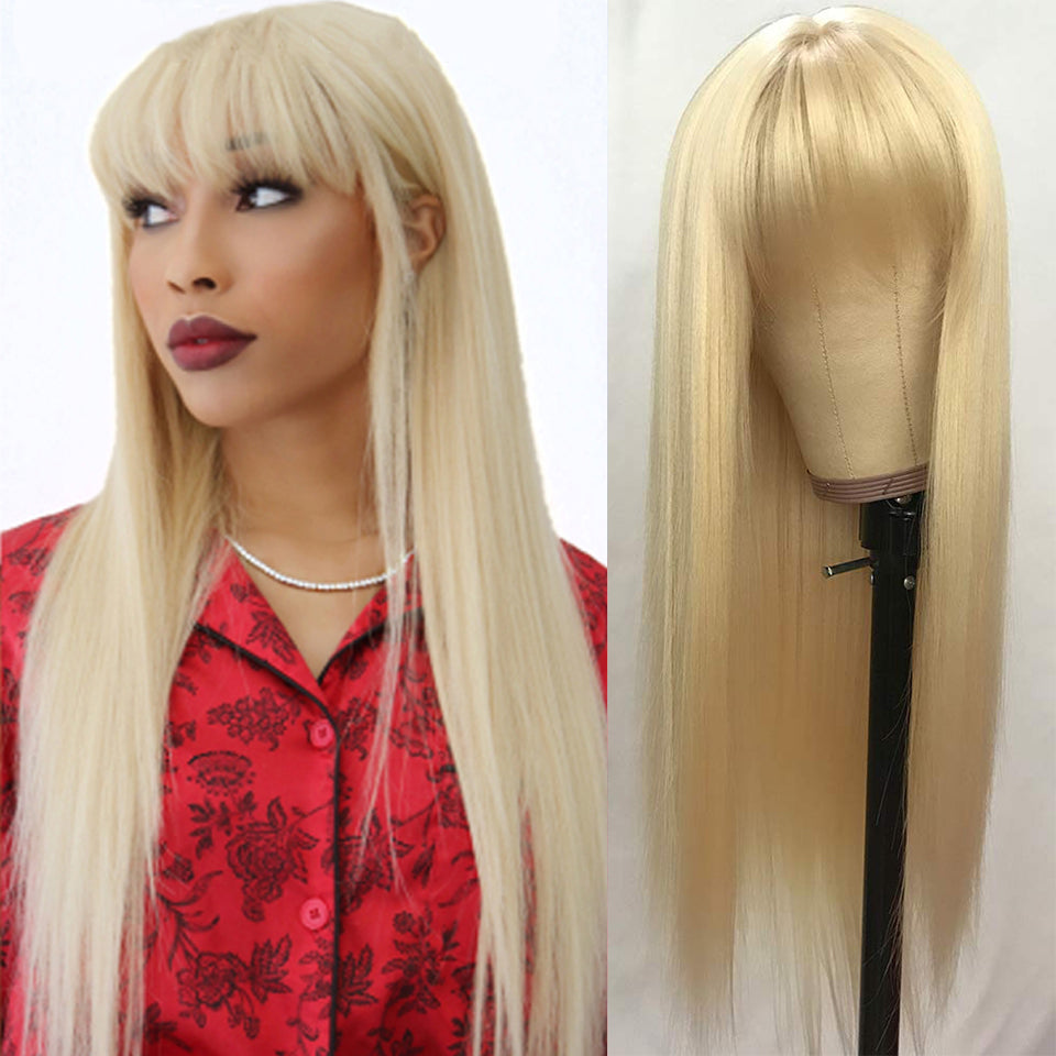 Beaufox 613 Blonde Human Hair Wigs With Bangs No Lace Front Wigs For Women Striaght Hair Wigs