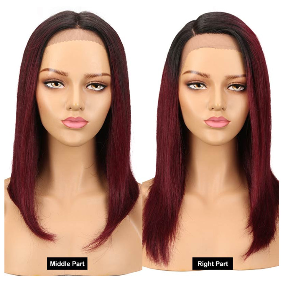 Beaufox T1B/99J Straight 13*4 Lace Front Wig Pre Plucked Ombre Hair Wig 150% Density