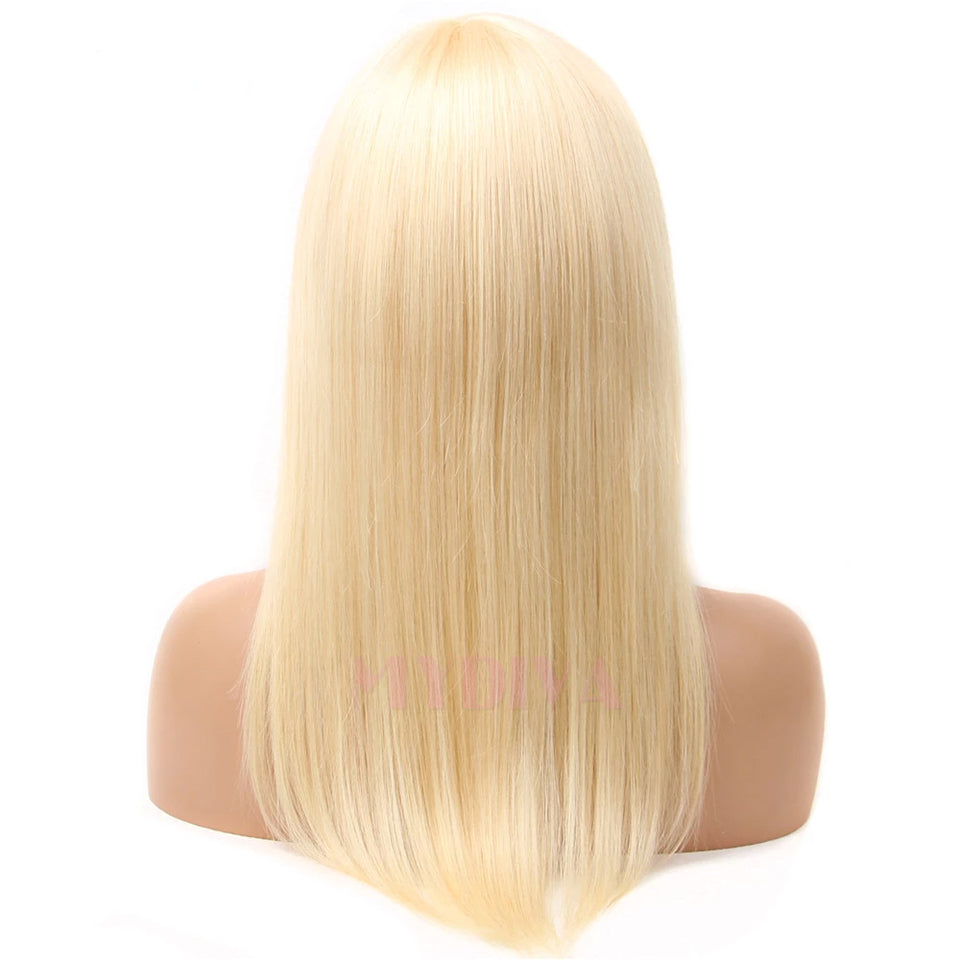Beaufox Straight Hair Wigs With Bangs Peruvian Hair No Lace Front Wigs 613 Blonde 8-26 Inch