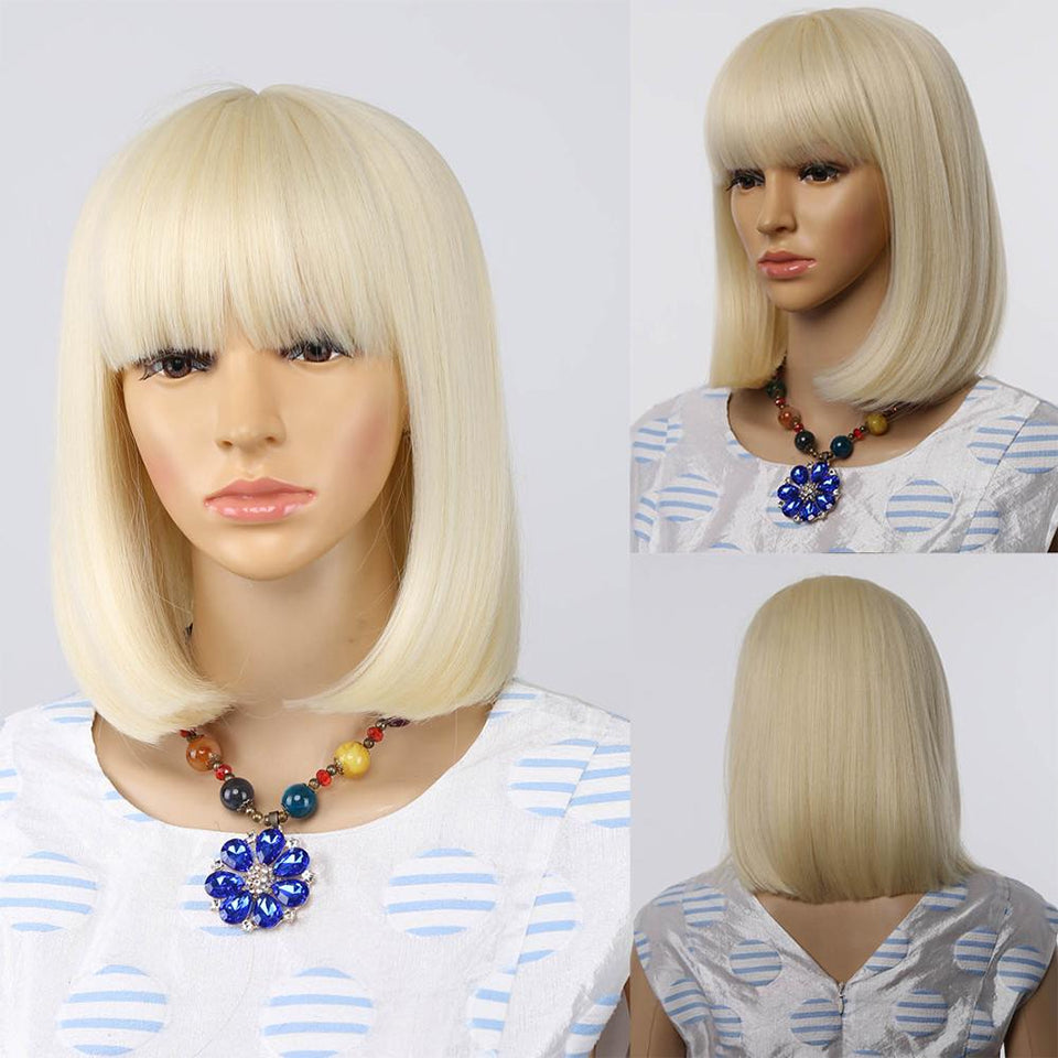 Beaufox 613 Blonde Straight Short Bob Wig With Bangs Glueless Wigs Mongolian Hair For Women