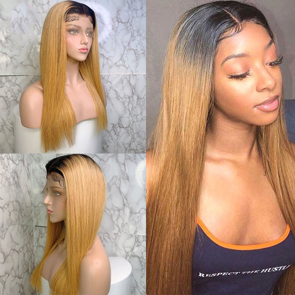 Beaufox 150% Density 13*4 Lace Front Human Hair Wigs For Women T1B/27 Ombre Hair Wig