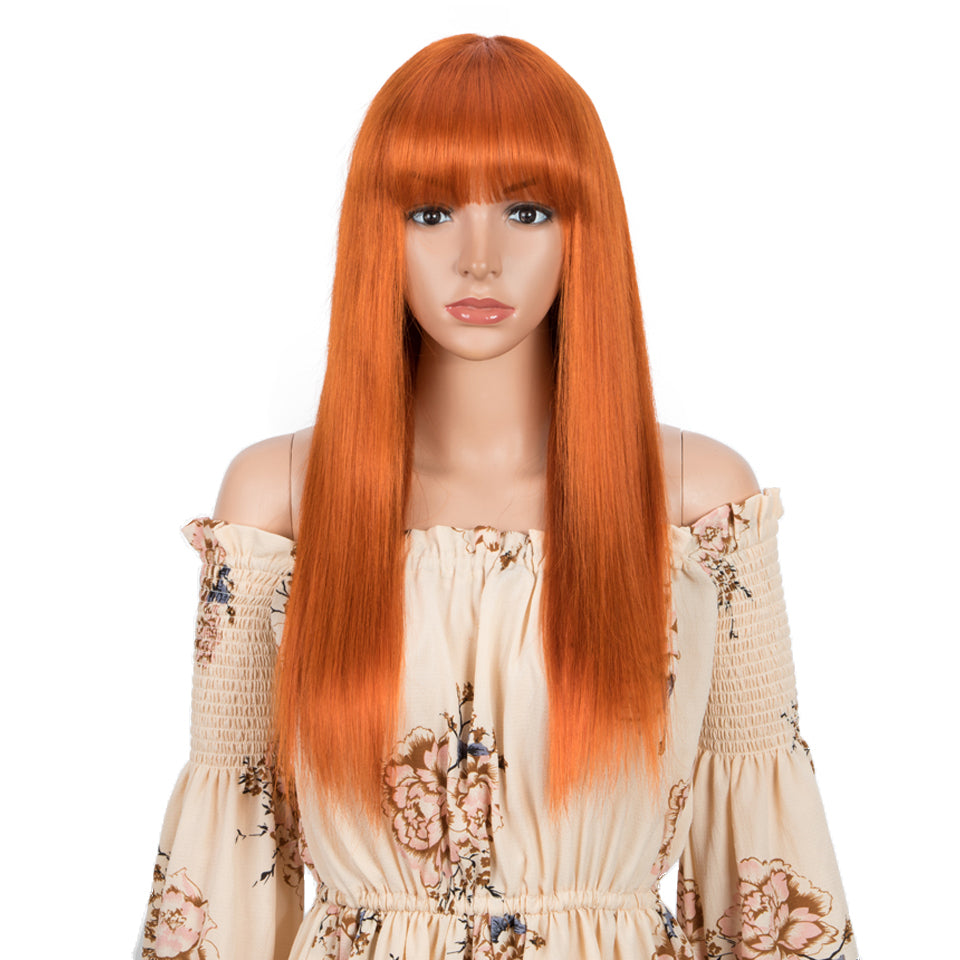 Beaufox Human Hair Wigs Orange Straight Hair With Bangs For Women No Lace Glueless Wigs