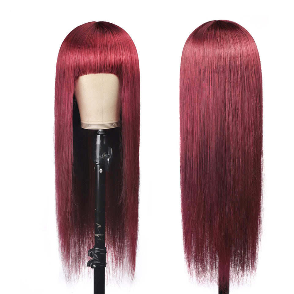 Beaufox Red 99j Human Hair Wigs Straight Hair With Bangs For Women No Lace Glueless Wigs