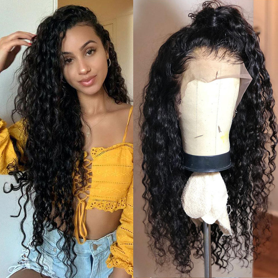 Beaufox 360 Lace Frontal Human Hair Wig, 150% Density Water Wave 100% Virgin Human Hair