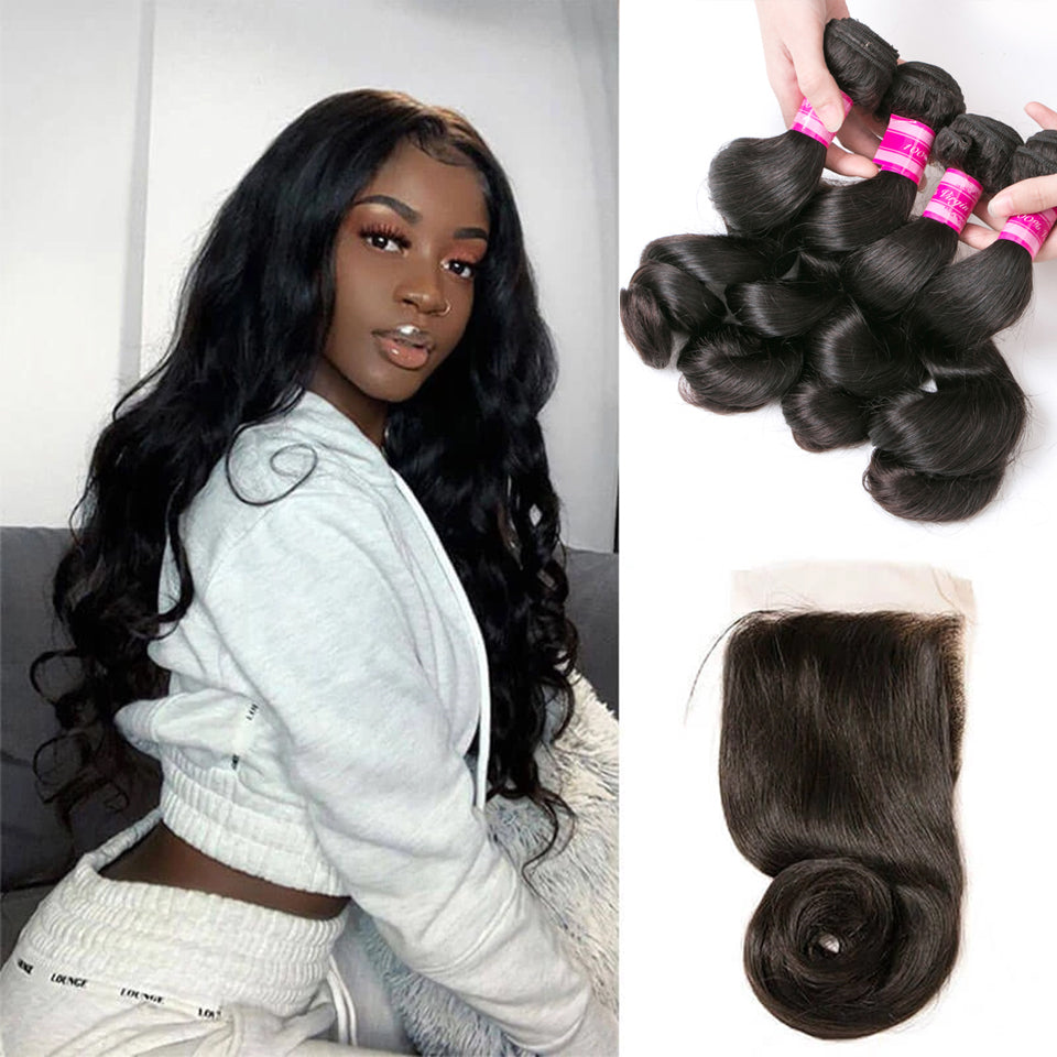 Beaufox Hair Loose Wave 4 Bundles With 4*4 Closure Natural Black