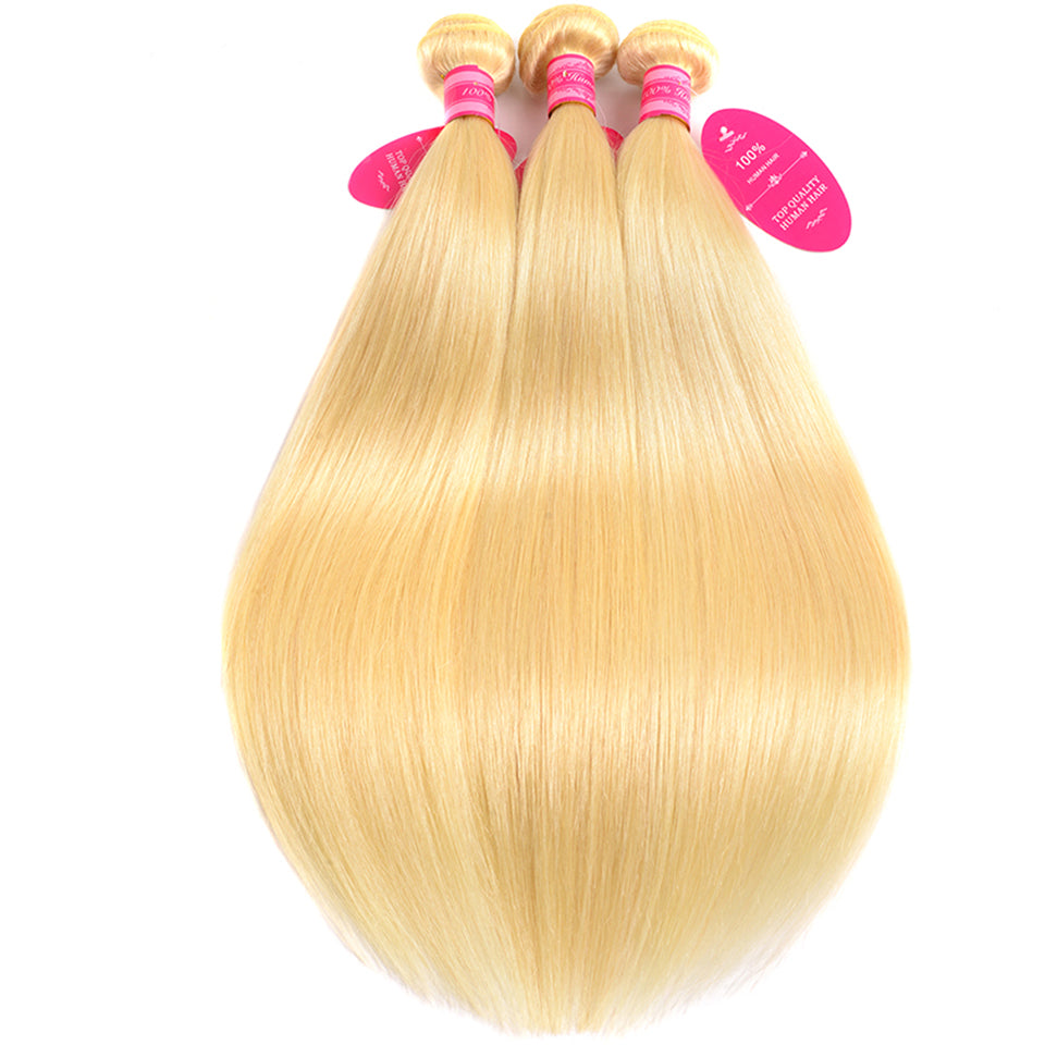 Beaufox Hair Virgin Human Hair 613 Blonde Straight 3 Bundles With 4*4 Closure