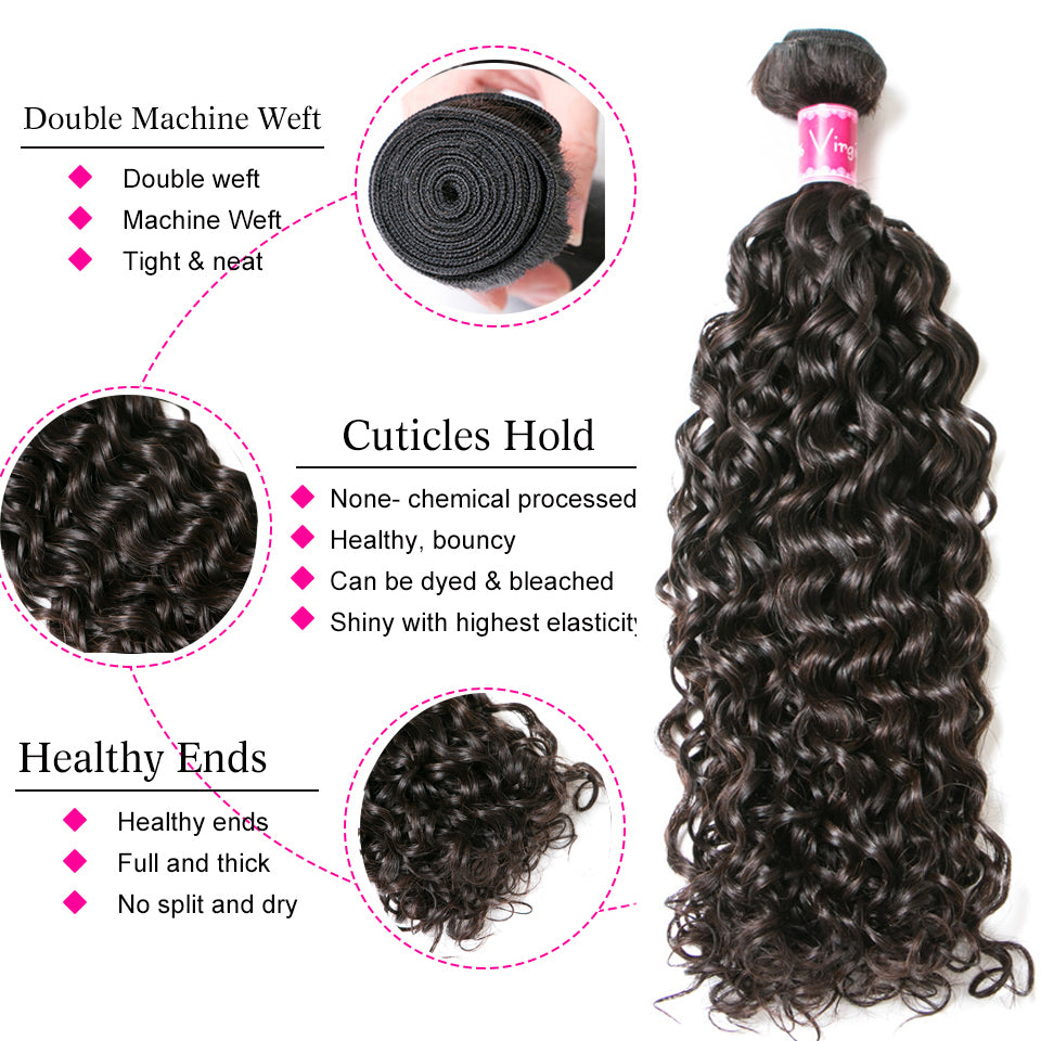 Beaufox Virgin Human Hair Water Wave Natural Black 3 Bundles With 4*4 Closure