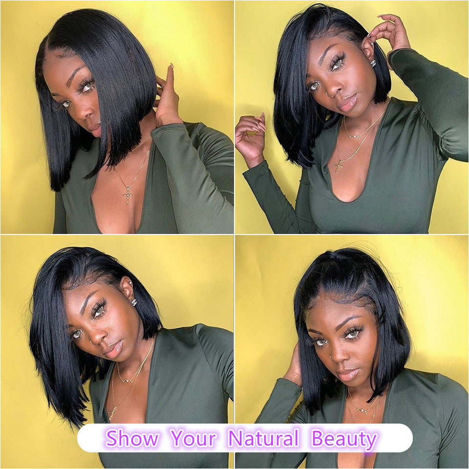 Beaufox Virgin Human Hair Straight Bob Wig Natural Black 150% Density Short Wig