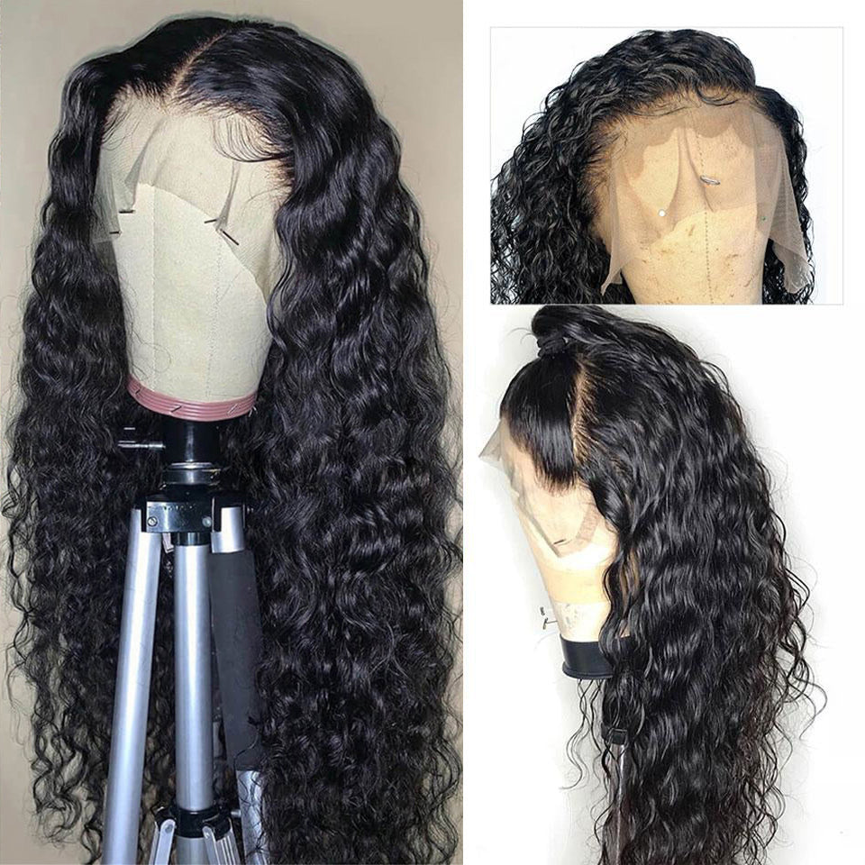 Beaufox 360 Lace Frontal Human Hair Wig 180% Density Water Wave 12A Grade