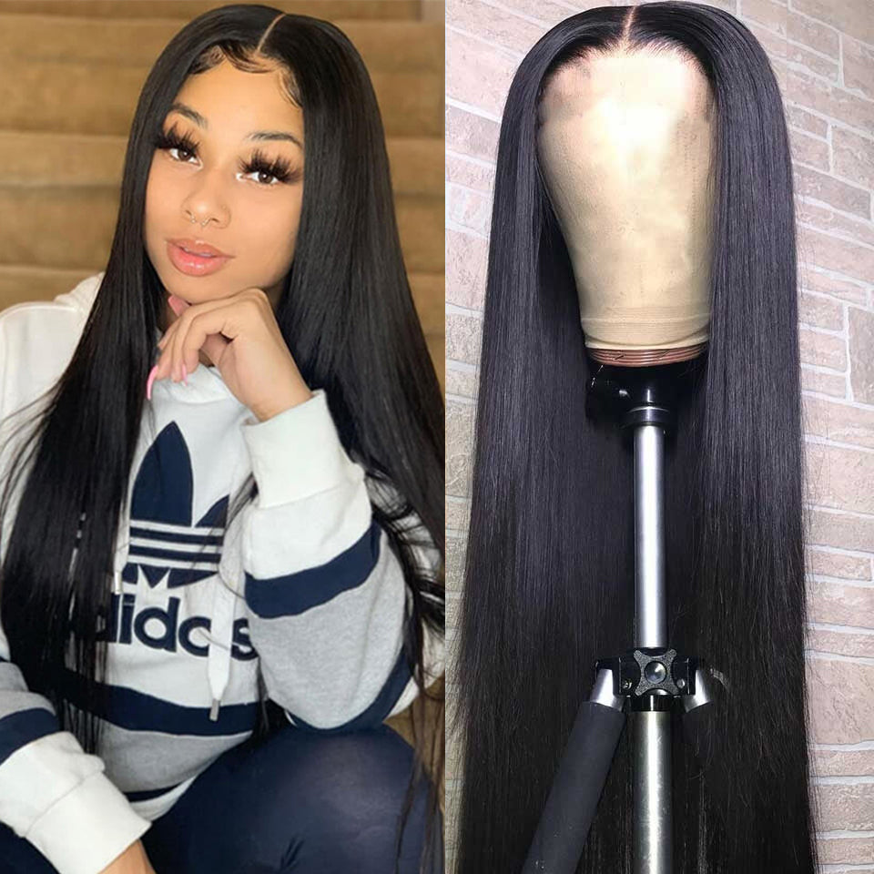 Beaufox 180% Density Straight 360 Frontal Lace Wig Virgin Human Hair 8-26inch