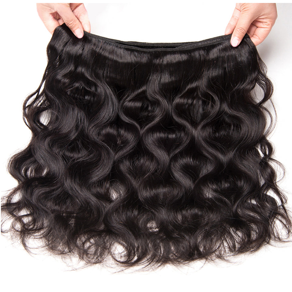 Beaufox Hair Body Wave Virgin Human Hair 3 Bundles With 360 Lace Frontal Natural Black
