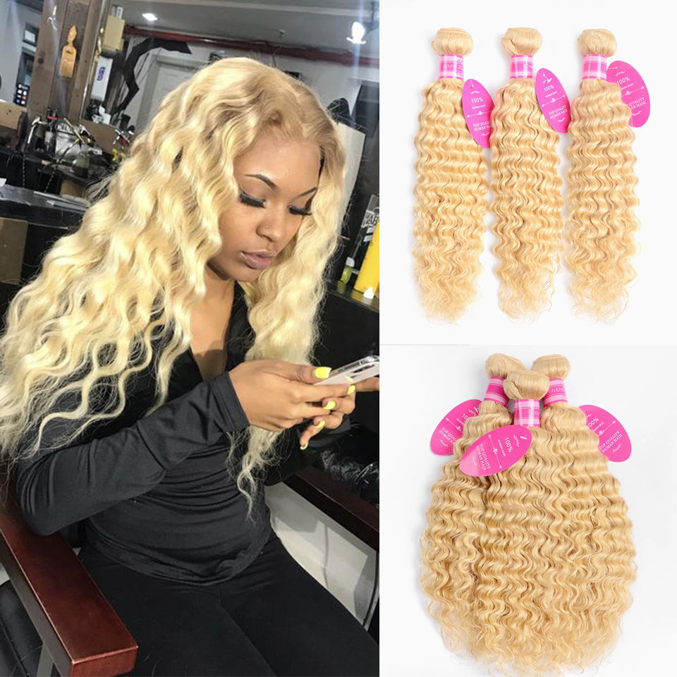 Beaufox Hair Virgin Human Hair Deep Wave 613 Blonde Hair 3 Bundles
