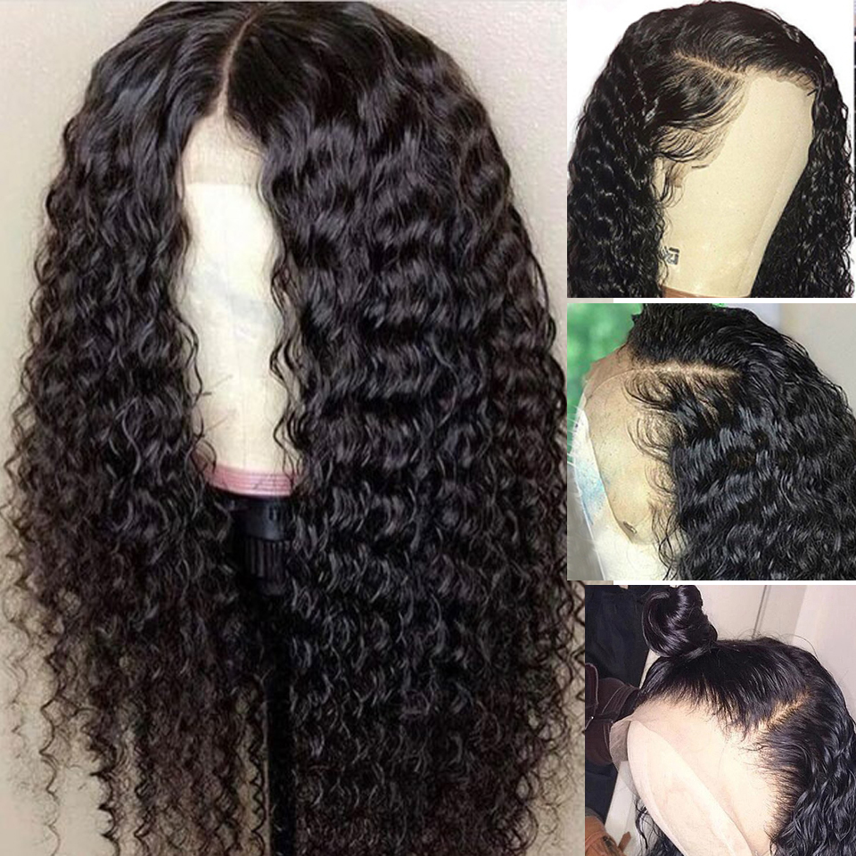 Beaufox Virgin Human Hair Deep Wave Curly 13*4 Lace Front Wig 150% Density
