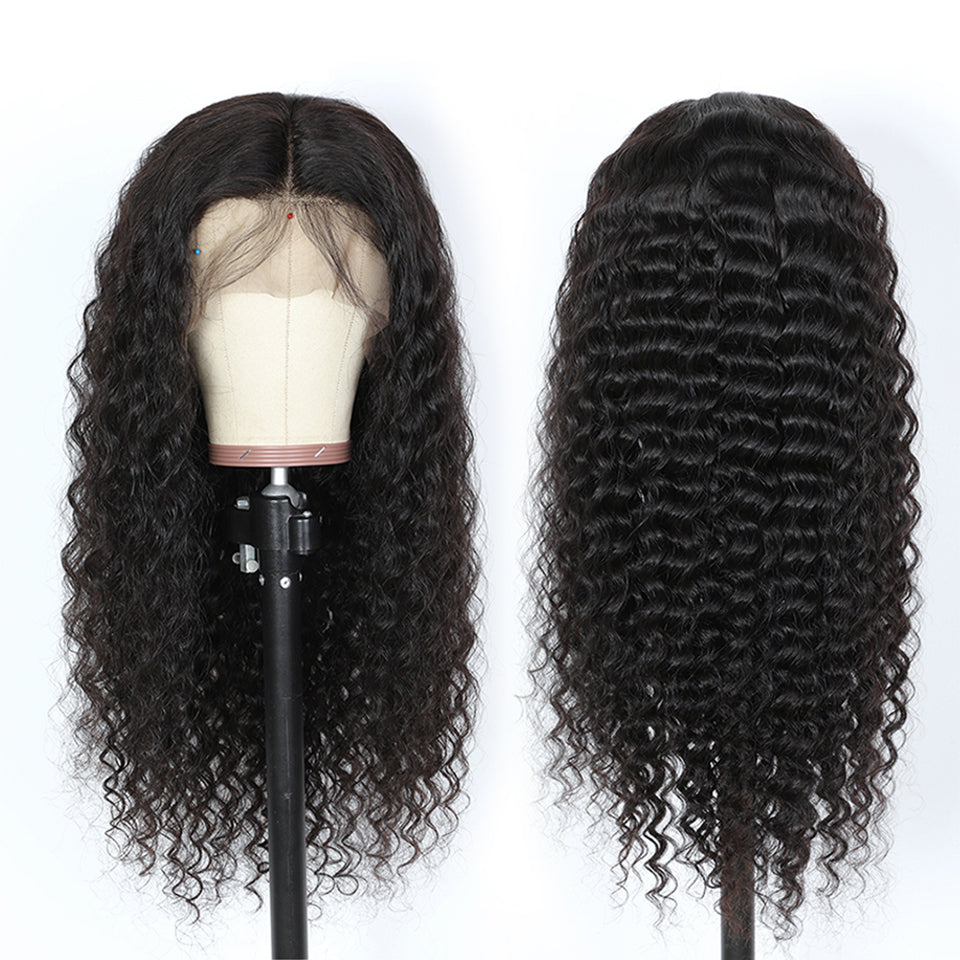 Beaufox 8-26 Deep Wave 360 Lace Front Wig 150% Density 100% Virgin Human Hair