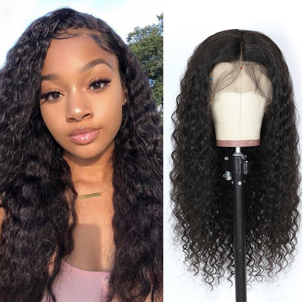 Beaufox Hair Deep Wave Lace Front Wig 180% Density 13*4 Virgin Human Hair