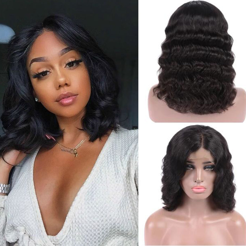 Beaufox Virgin Human Hair Body Wave Bob Wig Natural Black 150% Densty Short Wig