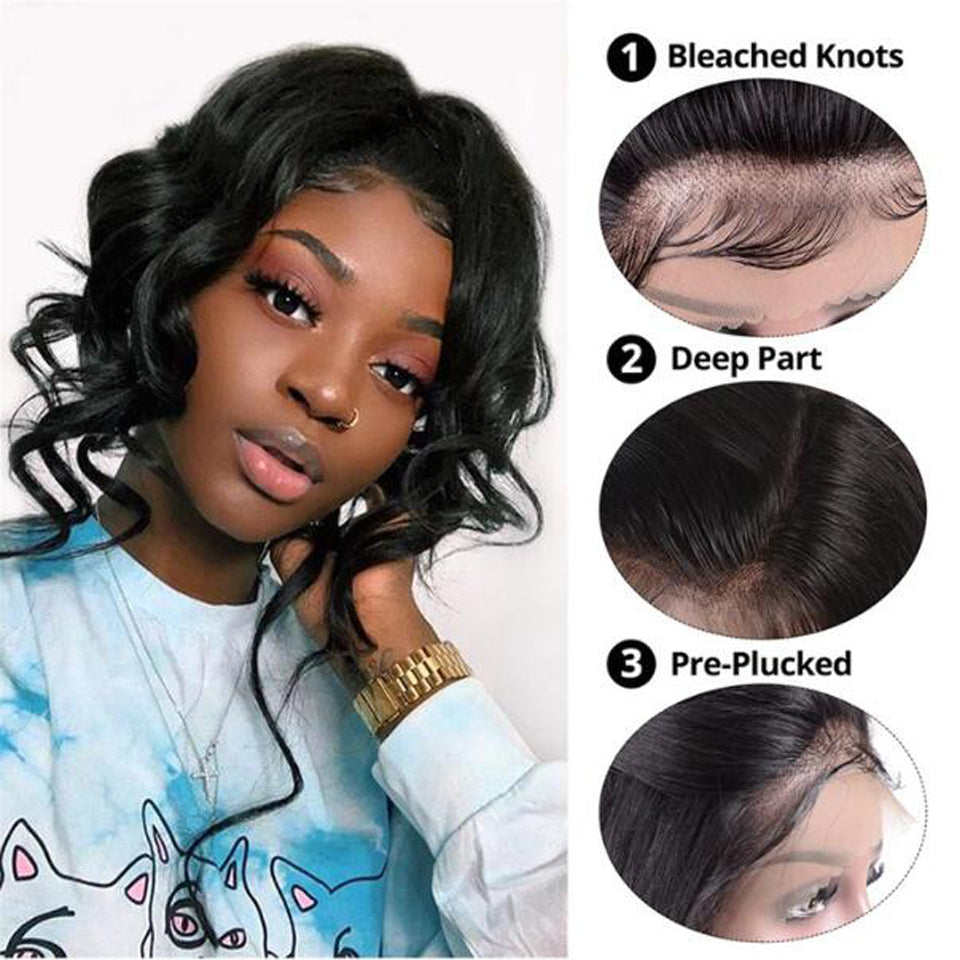 Beaufox Hair Virgin Human Hair Body Wave Bob Wig Natural Black 150% Densty Short Wig