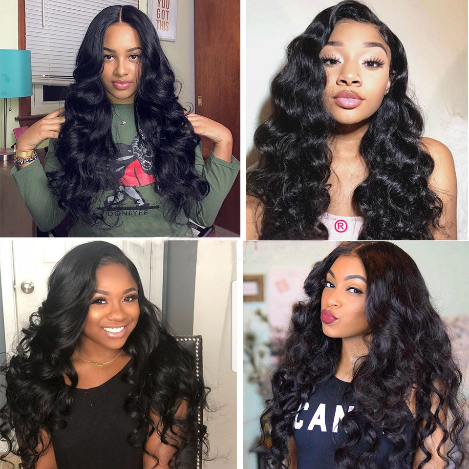 Beaufox Human Hair Loose Wave 3 Bundles With 360 Lace Frontal Natural Black