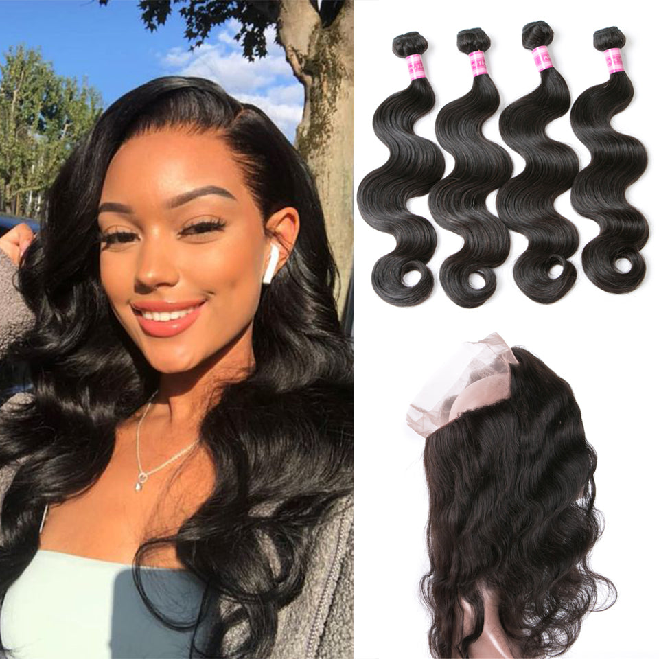 Beaufox Hair Body Wave 4 Bundles With 360 Lace Frontal Human Hair