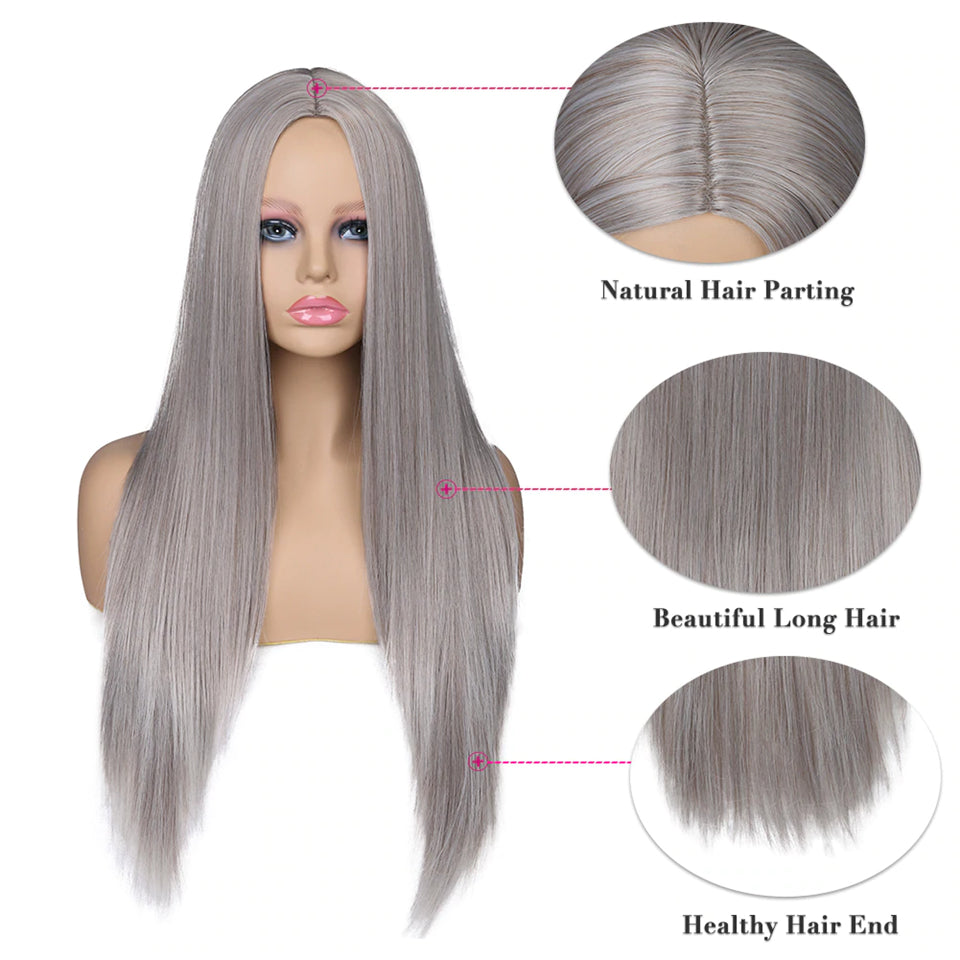Beaufox Gray Straight Hair 13X4 Lace Front Wig Colorful Wigs Virgin Human Hair 150% Density