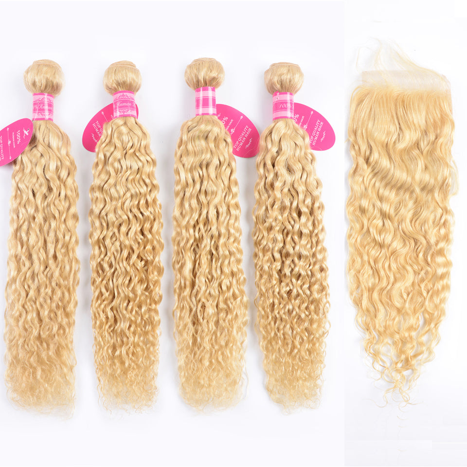 Beaufox Water Wave Virgin Human Hair 613 Blonde 4 Bundles With 4x4 Closure