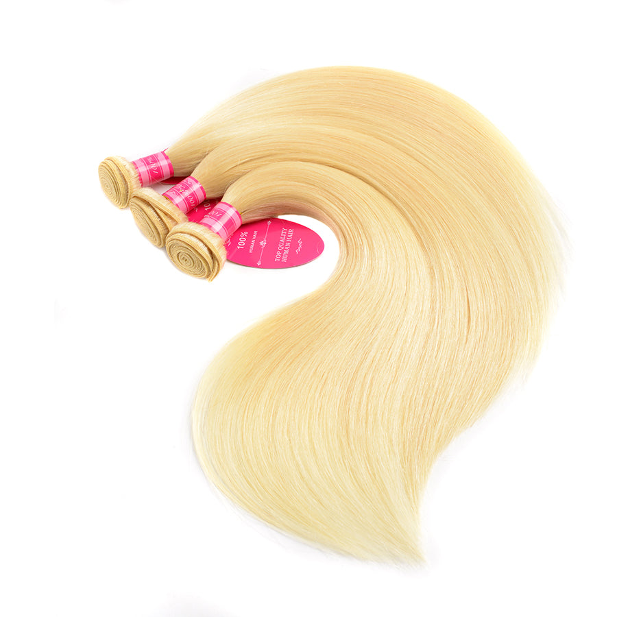Beaufox Hair Straight Wave Blonde Hair Weaves 613 Color 3 Bundles 100% Remy