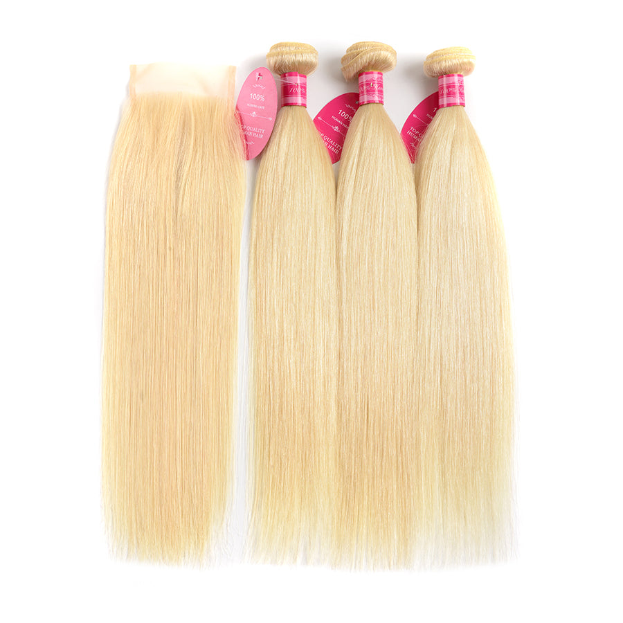 Beaufox Hair Virgin Human Hair 613 Straight Blonde Hair 3 Bundles With 4*4 Closure