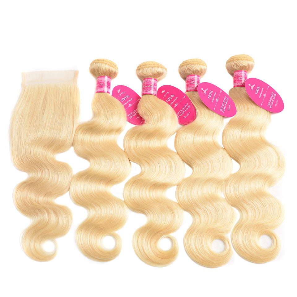 Beaufox hair Virgin Human Hair body Hair 613 blonde 4 bundles with 4x4 Lace Closure